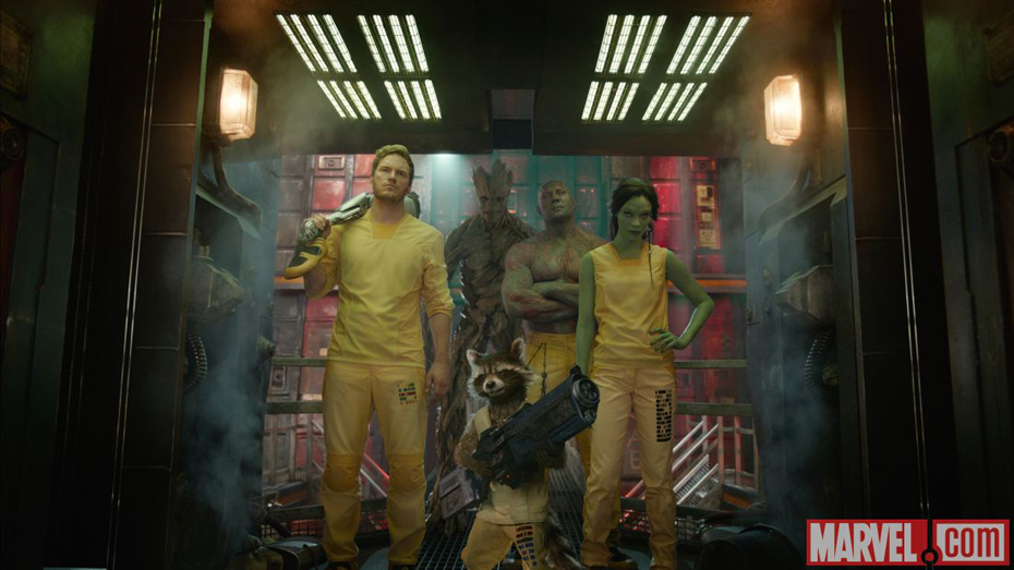 The Guardians Of the Galaxy in their prison outfits