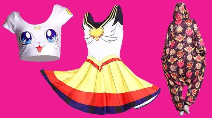 A few items, including a crop top, dress and onesie, from Living Dead Clothing's new Sailor Moon collection