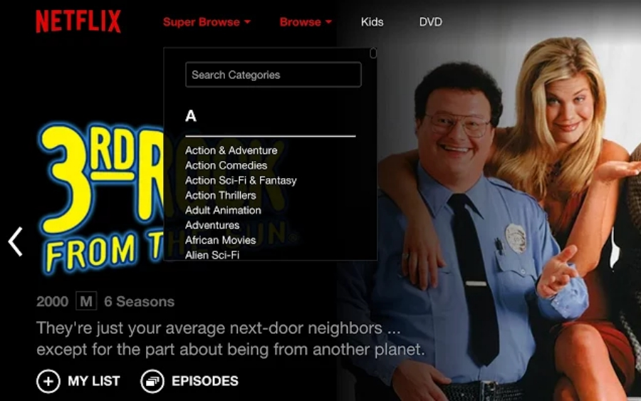 Super Browse for Netflix screen grab