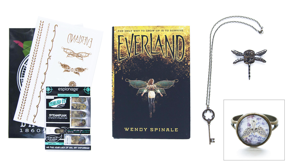 OwlCrate's steampunk-themed May box, with Peter Pan items