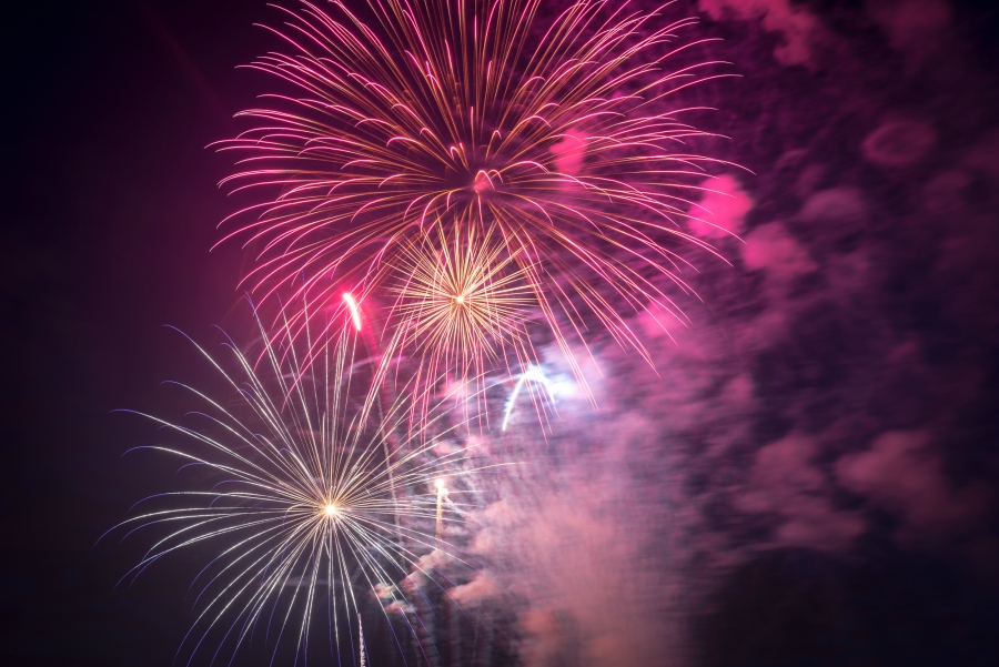 Pink fireworks in the sky
