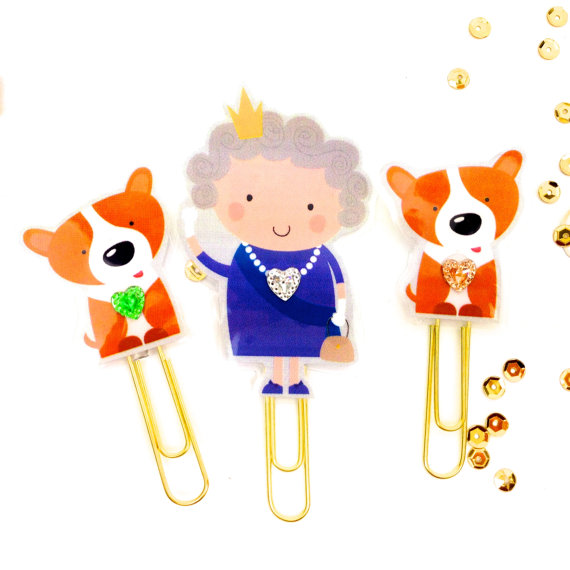 Queen Elizabeth II and her corgis Etsy paperclips