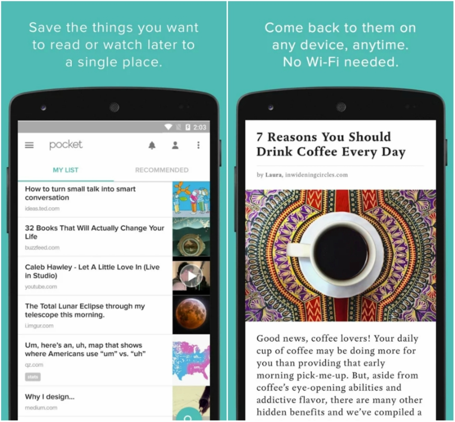 Screen grabs from a mobile app called Pocket