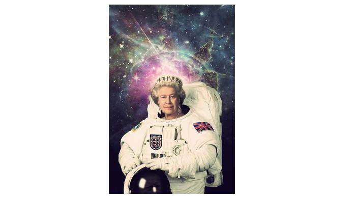 Queen Elizabeth II in an astronaut outfit