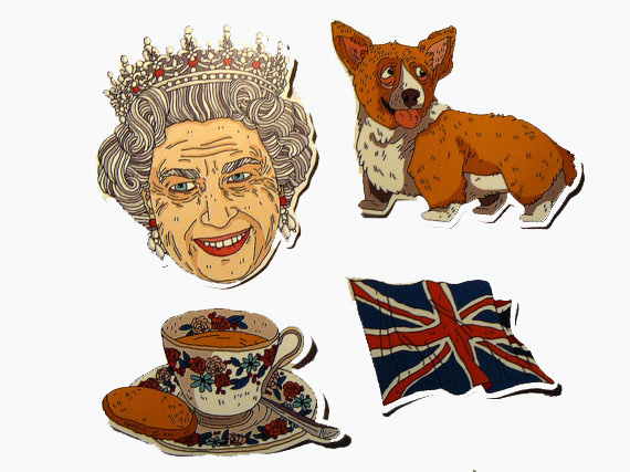 Stickers of Elizabeth II and her corgi from Etsy