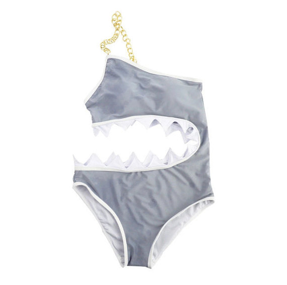 One piece shark swimsuit with shark teeth on the side
