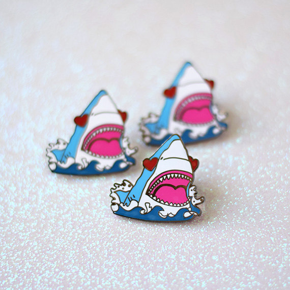 Shark with heart eyes pins