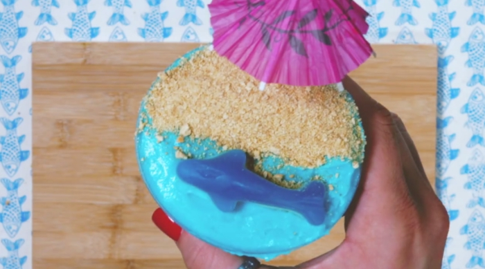 Shark Week-themed pudding
