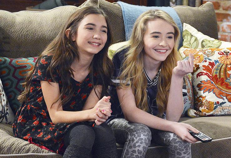 Girl Meets World's Rowan Blanchard and Sabrina Carpenter watching tv