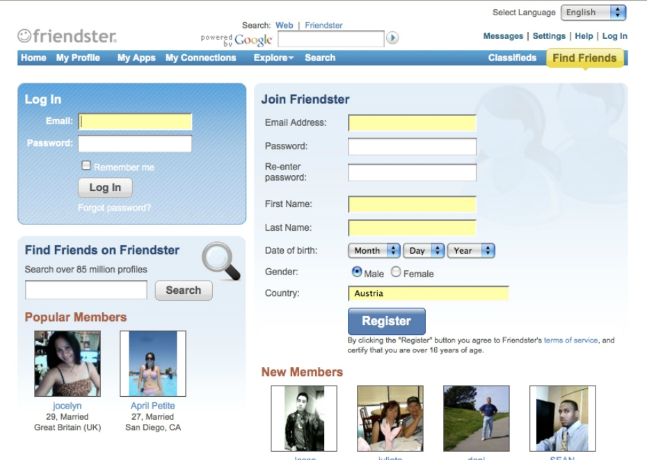 Friendster search section
