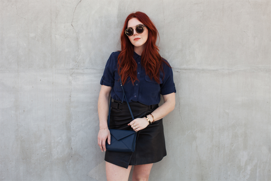 Style Blogger Wearing Navy Top Leather Skirt