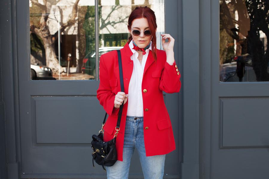 Style Blogger Allison McNamara in Red Blazer