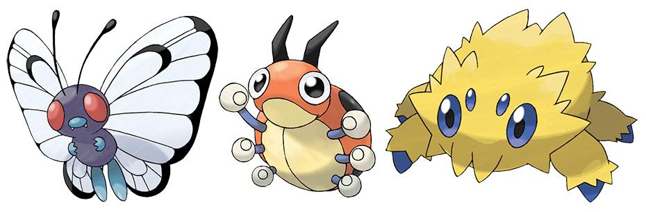 Bug-type Pokémon Butterfree, Ledyba and Joltik