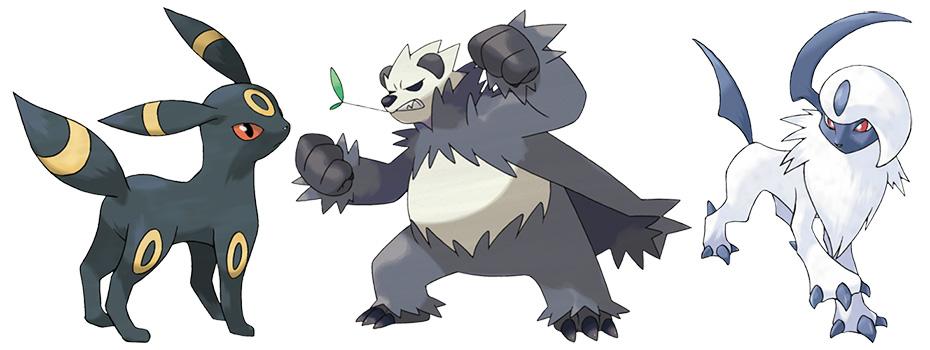 Dark-type Pokémon Umbreon, Pangoro and Absol