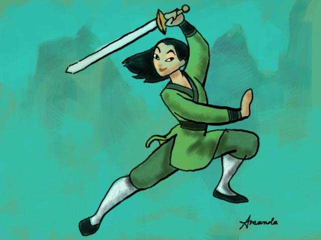 Disney Art Academy drawing of Mulan