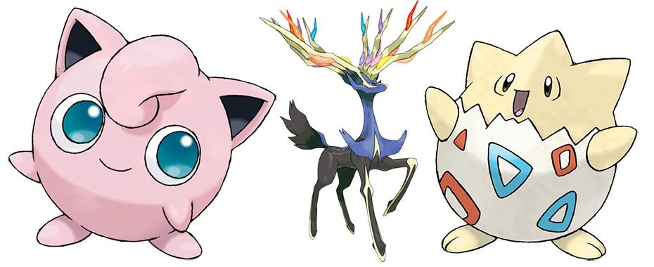 Fairy-type Pokémon Jigglypuff, Xerneas and Togepi