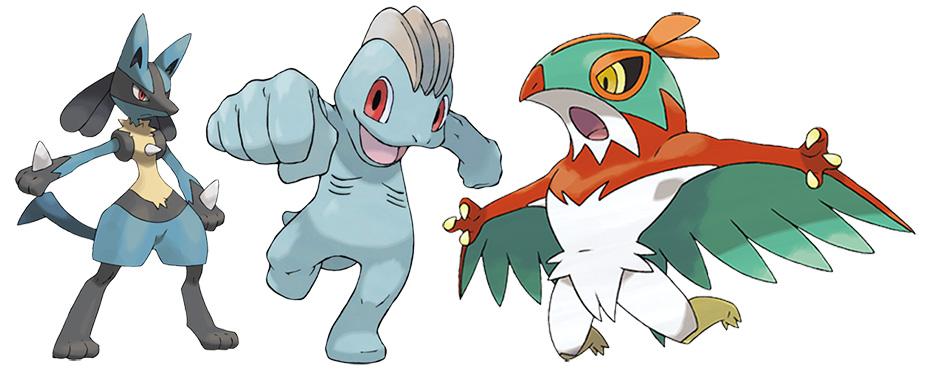 Fighting-type Pokémon Lucario, Machop and Hawlucha