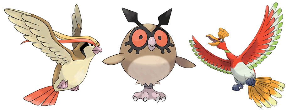 Flying-type Pokémon Pidgeot, Hoothoot and Ho-oh