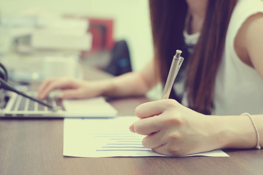 Girl doing homework at a desk