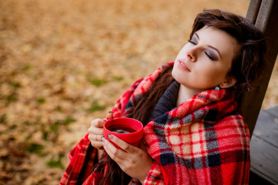girl relaxing with coffee