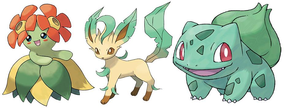 Leaf-type Pokémon Bellossum, Leafeon and Bulbasaur