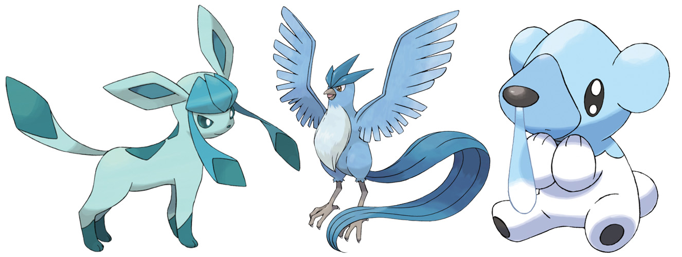 Ice-type Pokémon Glaceon, Articuno and Cubchoo