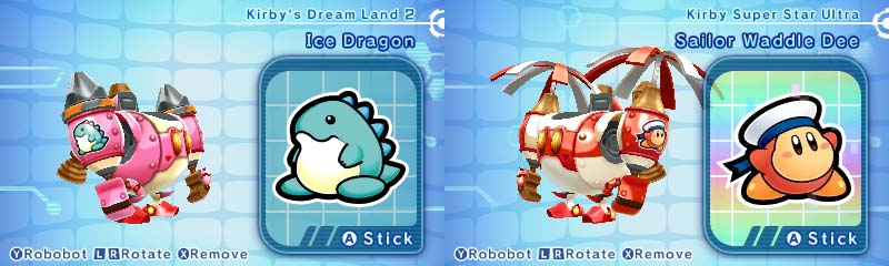 Kirby: Planet Robobot sticker customization ice dragon and sailor waddle dee