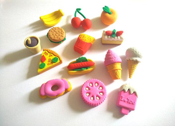 Miniature food erasers