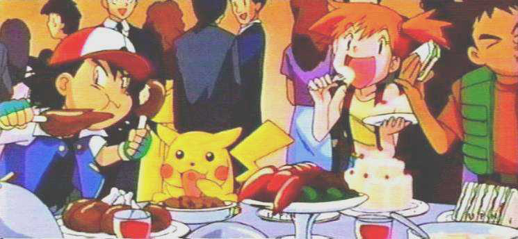Ash, Pikachu, Misty, Togepi and Brock eating in Pokémon anime
