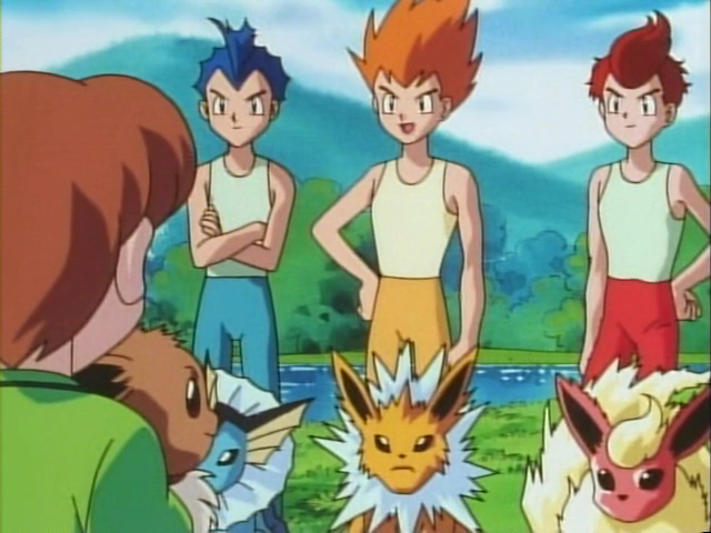Pokémon anime: Eevee brothers with Vaporeon, Jolteon and Flareon