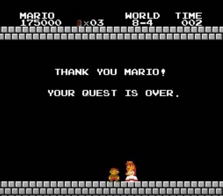 Screenshot of original Princess Peach in Super Mario Bros.