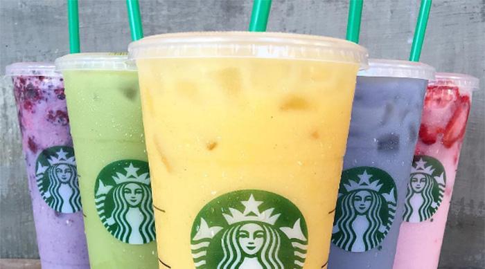 Rainbow Starbucks drinks