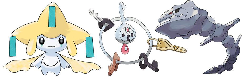 Steel-type Pokémon Jirachi, Klefki and Onix