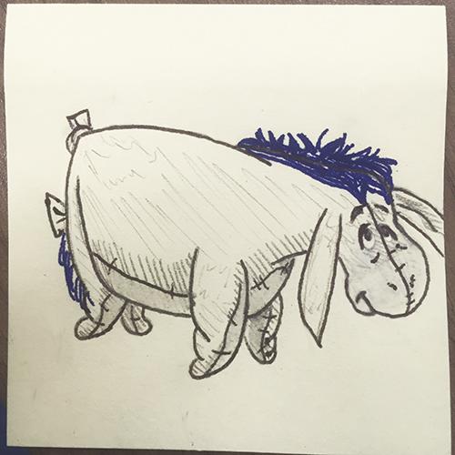 Eeyore drawn on sticky note based on Pokémon Art Academy directions