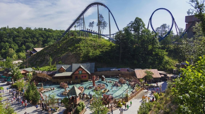Ariel shot of Dollywood amusement park in tennessee