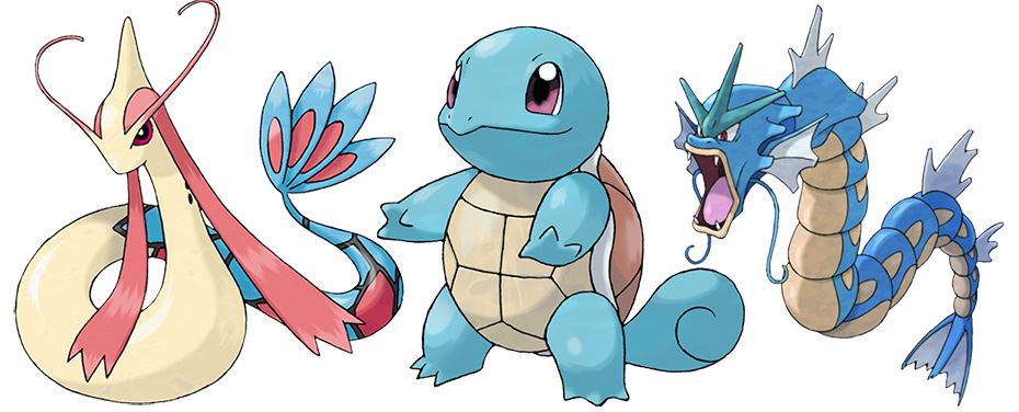 Water-type Pokémon Milotic, Squirtle and Gyarados