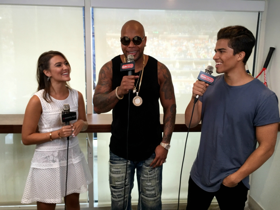 Cassie DiLaura and Alex Aiono interviewing Flo Rida