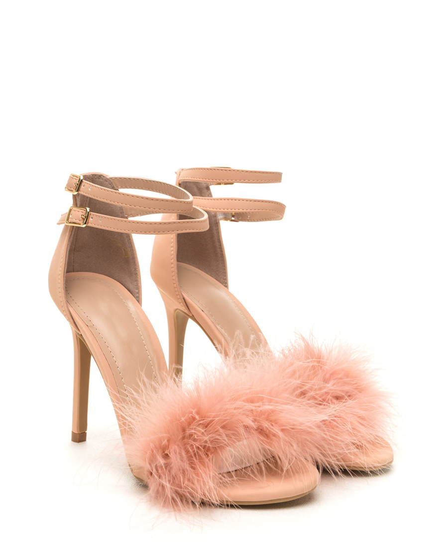 Furry Light Pink Heels