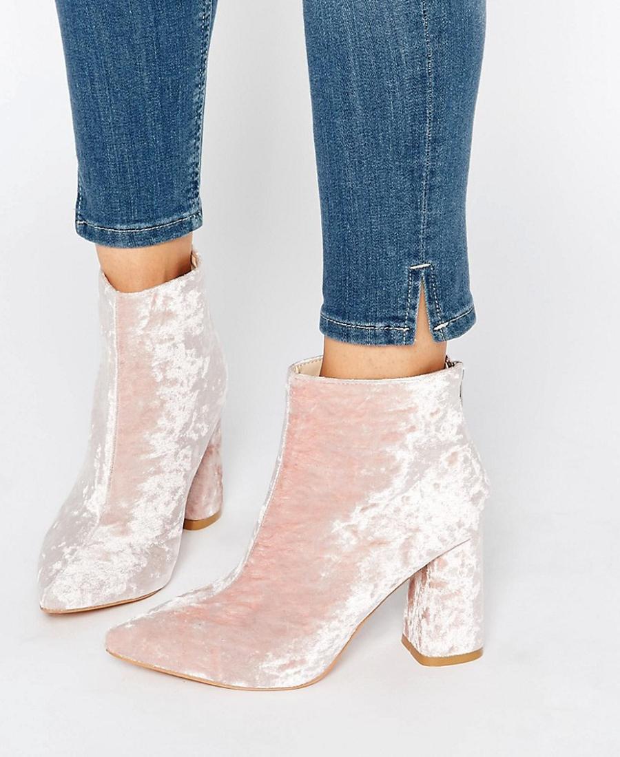 Light pink velvet boots