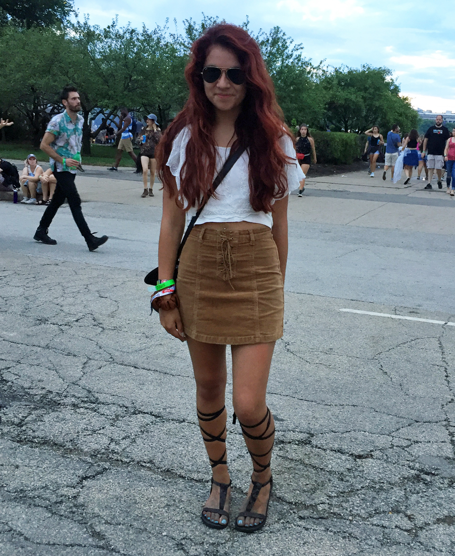 Girl in cage gladiator sandals at Lollapalooza