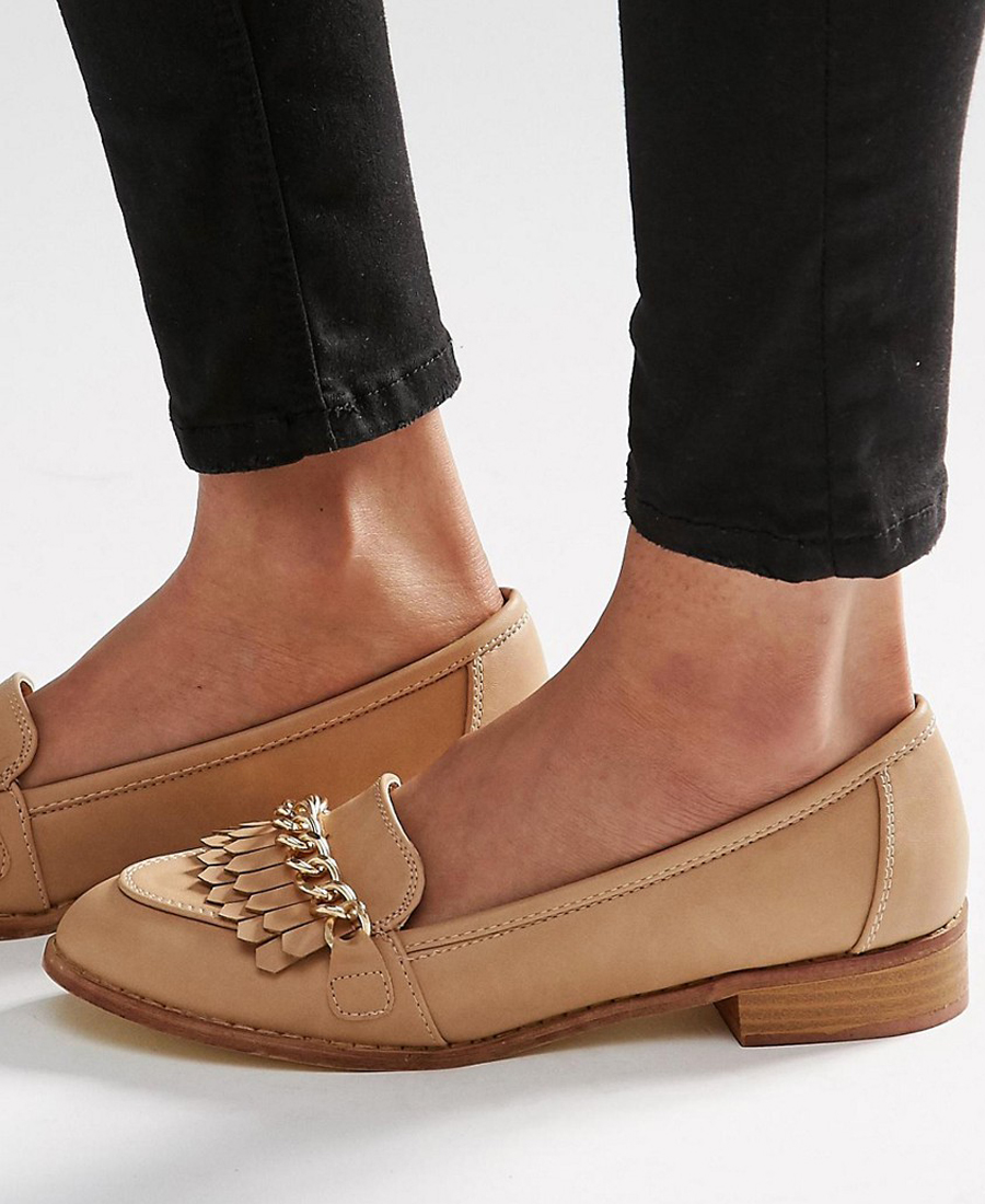 Tan Loafers with Chains ASOS
