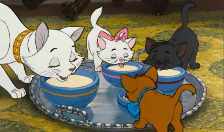 Walt Disney's The Aristocats drinking milk from saucers