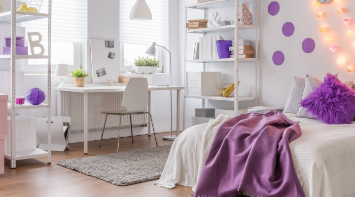 Purple and white colored teen bedroom
