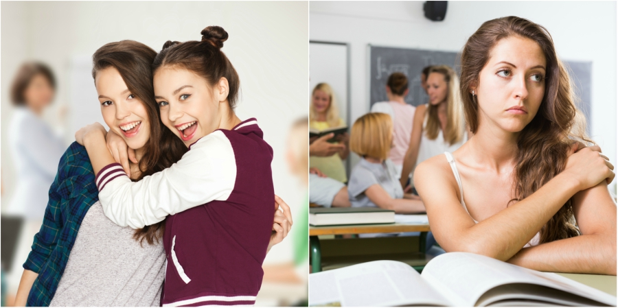 Two best friends hugging and a girl sitting by herself in class