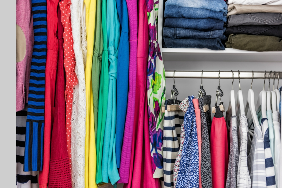 Color-coded and organized closet