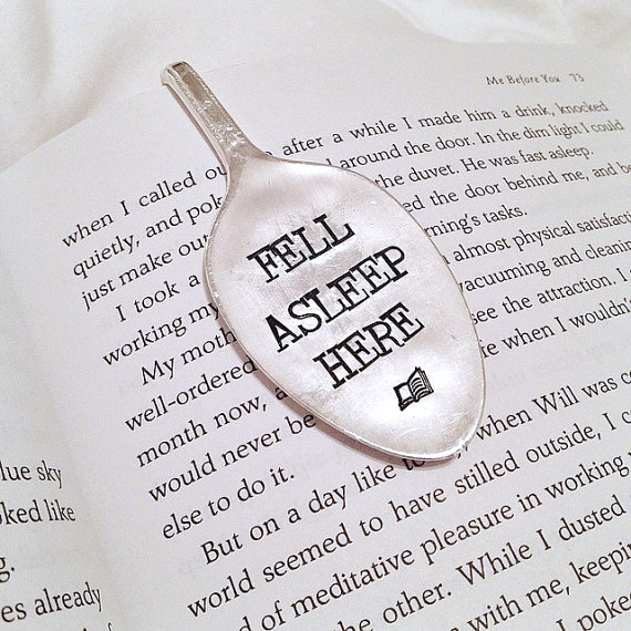 """Bookmark from Etsy that says """"Fell Asleep Here"""""""