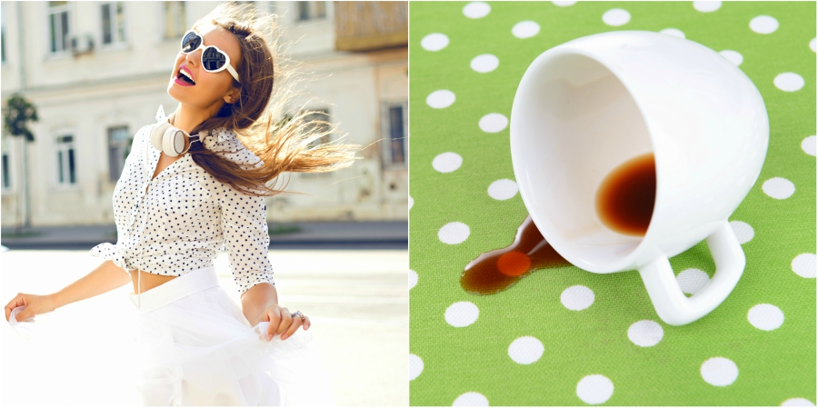 Cute white and polka dot shirt and skirt next to a spilled cup of coffee