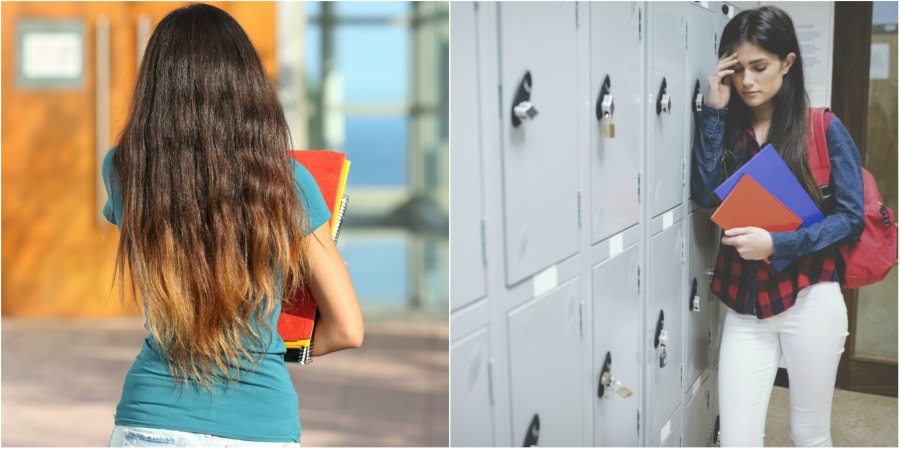 Girl walking to class and girl stressed in front of her locker