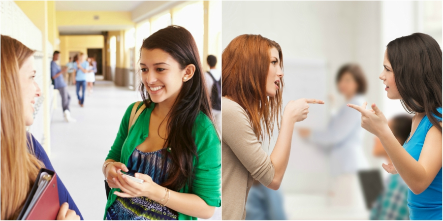 Two girls talking and smiling and two girls fighting and pointing fingers