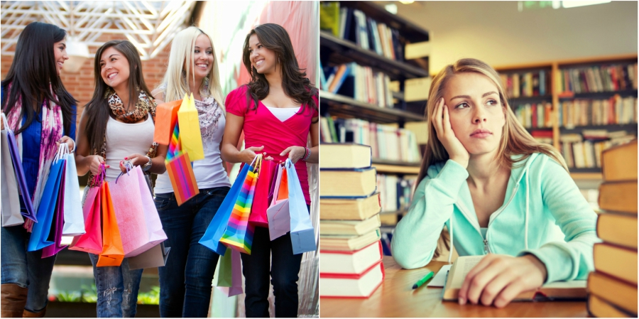 Four girls at the mall and one girl studying in the library